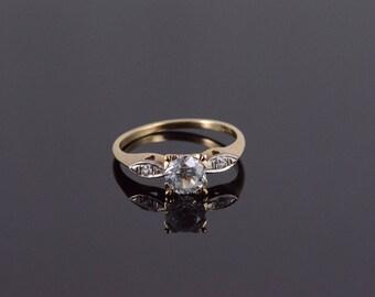 10k 0.75 Ctw Moissanite Three Stone Engagement Ring Gold