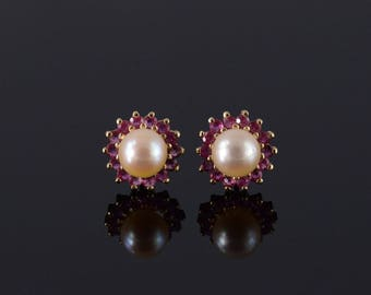 14k Pearl Ruby Starburst Halo Post Back Earrings Gold