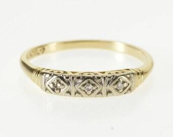 14K Diamond Inset Retro Patterned Wedding Band Ring Size 5.75 Yellow Gold