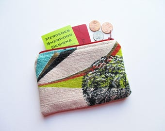 Turquoise Chartreuse Black Leaves Botanical on Taupe Ground Vintage Barkcloth Fabric Coin Purse Business Loyalty Card Holder Gift for Her