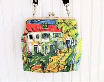 "Colorful Van Gogh Stairway at Auvers Vintage Barkcloth Fabric 8"" Antique Brass Kisslock Frame Crossbody Shoulder Bag Purse"