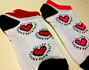 Art Socks,Keith Haring,Cool Booties,Ankle Socks,Artsy,Gift for Women, Comfortable, Fashionable, Stocking Stuffers
