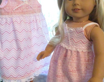"Pink or Blue 18"" Doll Nightgown to fit your American Girl Doll"