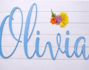 Baby Name Nursery Sign - Cursive Name Sign for Nursery Wall Decor - Baby Nursery Custom Wood Sign - Wooden Name Sign - Scribble Script Font