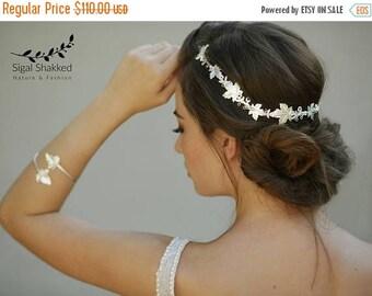 Silver Bridal Headpiece, Silver Bridal Wreath, Silver Bridal Headband, Silver Bridal Tiara, Greek Headband, Goddess Headpiece, Leaf Headband