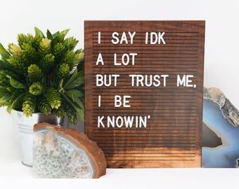 Wooden Letter Board 8x10 - Walnut - Letterboard, Message Board, Felt Board, Modern Farmhouse, Modern Cabin, Natural, Organic, Handcrafted