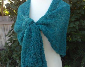 Alpaca Boucle shawl, Alpaca Wrap,  Hand made shawl, Teal Wrap, Women's Shawl, Teen Shawl,