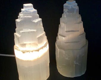 "7.5""-8"" White Selenite lamp with cord and bulb hand carved selenite tower lamp crystal lamp chakra reiki"