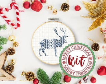 Nordic Cross Stitch Kit Christmas Reindeer Kit Deer Scandinavian Deer Kit Modern Cross Stitch Kit Holiday Gift Kit instructions & supplies