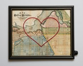 Ottawa Hand Embroidered Heart Map, Ottawa Map, Paper, Cotton Anniversary, Mother's Day Gift, Love, Ontario, Engagement, Travel Art, Wedding