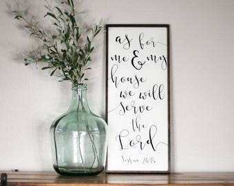 As for me and my house, we will serve the Lord, As for me and my house sign, Joshua 24:15, bible verse wall decor, As for me wooden sign
