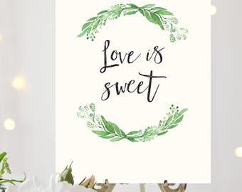 Printable Greenery Wedding Dessert Sign