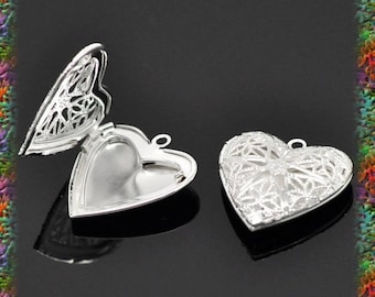 4 working silver engraved heart pendants