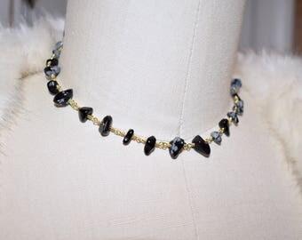 Black Speckled Agate Rocks Gold Choker