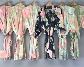 Bridesmaid Robes Blossom Floral 9, Personalized Satin Silk Robes Bridal Shower Gift Bride Robes Champagne White Pink Green Light Blue Navy