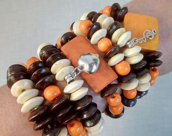 Wood Bead Bracelet Set of 7 Wood Bracelet Beaded Bracelet Wooden Bracelet Wooden Bead Bracelet Wood Beaded Bracelet Boho Bracelet