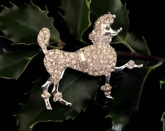 Poodle Pin with Rhinestones and Bright Silvertone Metal Figural French Poodle Dog Lover Pin Poodle Gifts Scatter Pin Vintage Brooch