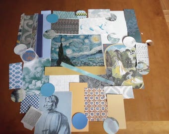 40-Piece Ephemera Pack Van Gogh's The Starry Night Print and Coordinating Papers and Fabric Palette Study Collage Mixed Media Altered Art