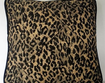 SALE ON SALE cheetah skin chenille woven black tan pillows for sofa chair or couch handmade in usa