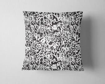 Black and White Graffiti throw pillow