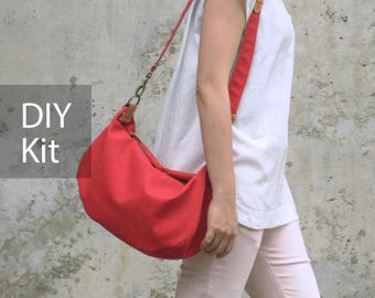 Good times Canvas Shoulder Bag DIY Kit with Sewing Pattern & Tutorials (all the materials included)