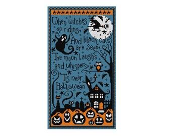 When Witches Ride - Halloween Pattern  - Durene J Cross Stitch - DJXS2227