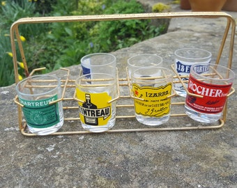 Vintage French Shot Glasses / French Glasses in stand / Vintage Shot Glasses / French glass / Retro Shot Glasses / French label shot glasses