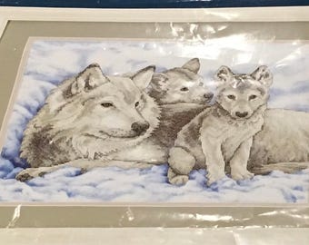 Sunset Dimensions Stamped Cross Stitch Kit 13130 Mother Wolf And Pups Snow Winter Scene Animals  Marilee Carroll 16 x 12 Inch