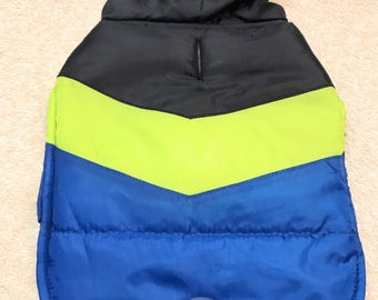 Dog Jacket Coat Size XS Blue Green Black Colors Hooded