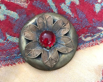 Antique Gay 90's Ornate Metal Button Red Glass Cabochon