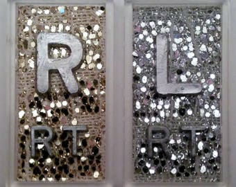 Gold Snake Sparkle and Silver Snake Sparkle Xray Markers with Lead Initials