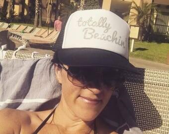 TOTALLY BEACHIN' Trucker Hat GLITTER-trucker hat-womens hat-gift for mom-mothers day-sports hat-beach hat-beach please-beach life