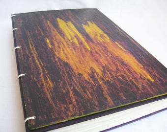 Unlined journal, 9 by 6 sketchbook, deep purple and lime, coptic stitch binding, OOAK handmade book with plain pages, original book