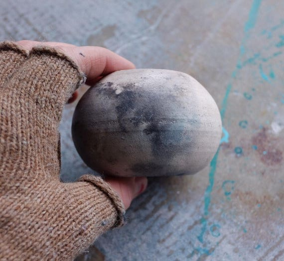 Smoky Pit Fired Orb Vase
