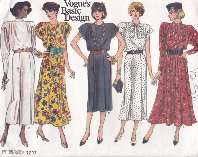 Free Us Ship Sewing Pattern Vogue 1717 Vintage Retro 1980's 80s Basic Design Dress Wide Shoulder Size 14 16 18 Bust 36 38 40 Factory Folded