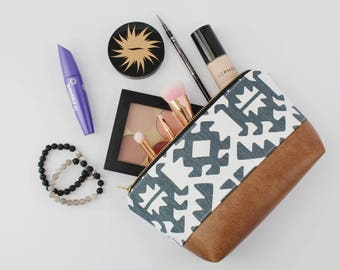 Small Blue & White Aztec Makeup Bag, Waterproof Cosmetic Bag, Vegan Leather Makeup Bag, Blue Toiletry Bag, Aztec Cosmetic Bag