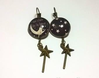 Earrings cabochon light lune• •in