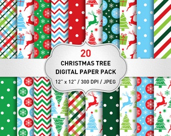 Christmas Digital Paper Commercial Use, Classic Christmas Papers, Scrapbook Papers, Christmas Background, Red and Green Christmas Paper