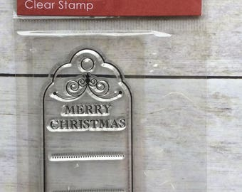 Clear Stamp Merry Christmas Tag