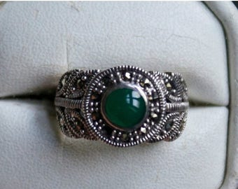 ON SALE Mesmerizing Green Onyx , Marcasite Silver Ring
