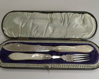 Antique English Sterling Silver and Mother of Pearl Fish Servers - 1895