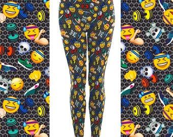 Fitness Clothing, Squat Workout, Funky Leggings, Workout Leggings, Emoji Leggings, Peloton Clothing, Womens Cycling, Workout Clothing