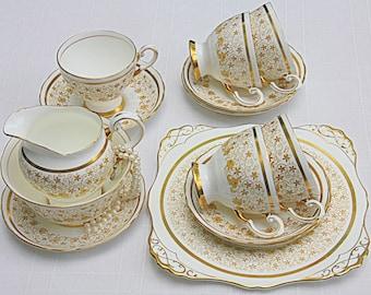 Elegant Vintage Royal Tuscan Tea Set, Tea Service, Gold Chintz Decor, England