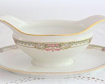 Vintage Limoges Porcelain Gravy Boat/Sauce Boat with Attached Underplate, Pink Flower Guirlandes, France