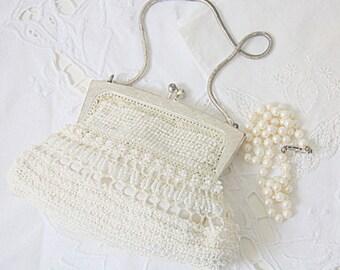 Vintage Handmade Small Beaded Evening Purse, Chain Handle, Bride's Purse