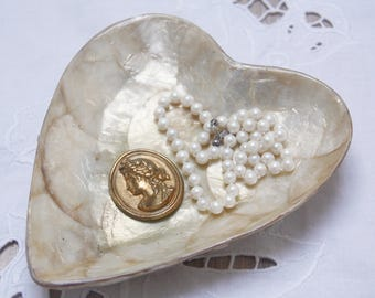 Lovely Vintage Capiz Shell Heart-Shaped Vanity Tray, Candy Tray