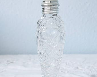 Vintage Pressed Glass and Silver Plate Large Sugar Shaker, Muffineer, Bird Decor, Starburst Bottom