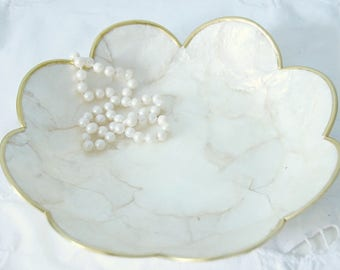 Small Vintage Capiz Shell Flower Shaped Dish, Vanity Tray