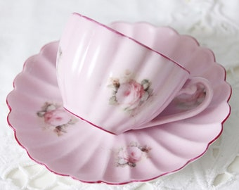 Lovely Vintage Meander Pink Demitasse Cup and Saucer, Rose Decor