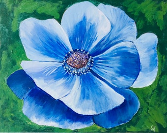 """Blue Poppy Painted In Acrylic """"11X14"""" Canvas Board"""